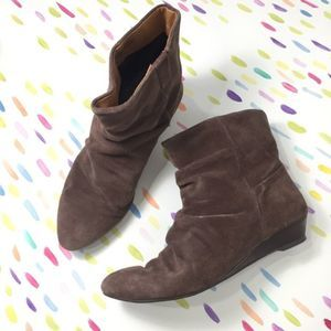 Nine West brown suede wedge slouch boots tan 6.5